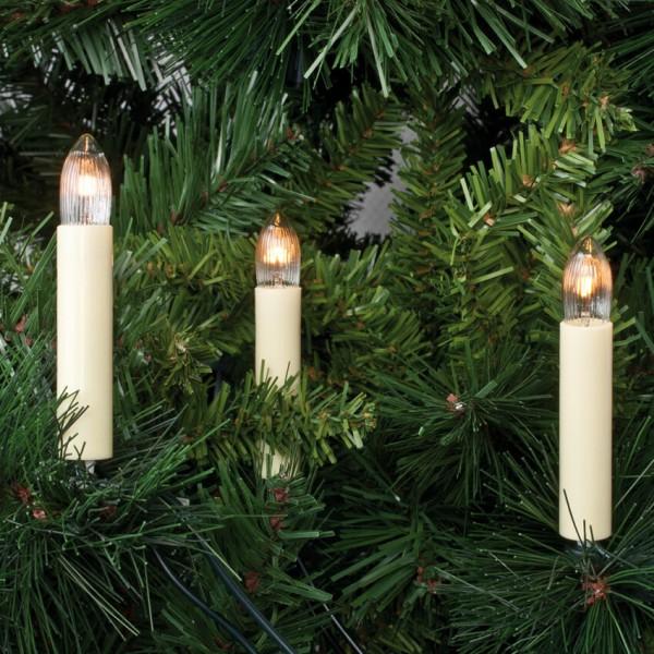 Rotpfeil Weihnachtsbaumketten, klar/elfenbein, mit Topkerzen
