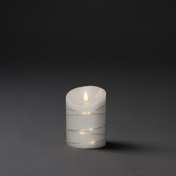 Konstsmide LED Echtwachskerze weiß mit 3D Flamme