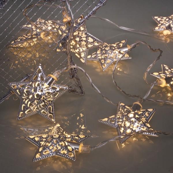 Max Pferdekaemper LED-Minilichterkette, Metallsterne silber